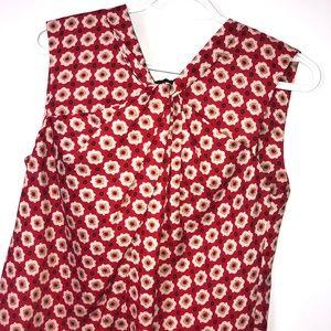 Ann Klein red floral knotted neckline top Sz S